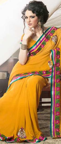 Mango #Yellow Faux #Georgette #Saree With #Blouse @ $76.12 | Shop Here: http://www.utsavfashion.com/store/sarees-large.aspx?icode=sga1859