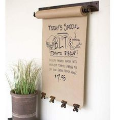 Good idea for a coffee shop! Hanging Kraft Paper Dispenser with Clips - use to store ribbon Cafe Interior, Restaurant Interior Design, Antique Interior, Small Restaurant Design, Small Cafe Design, Restaurant Signage, Event Signage, Restaurant Owner, Restaurant Specials