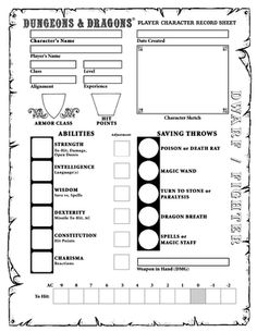 D&D Basic (Moldvay) Character Sheets Character Sheet Writing, Character Sheet Template, Dungeons And Dragons Characters, Dnd Characters, Rpg World, Dragon Rpg, Dungeon Maps, Fantasy Map, Geek Gear