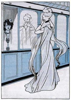 """""""BY THE AID OF THE MIRROR SHE PUT ON THE HEAD"""" — Princess Langwidere in """"Ozma of Oz"""" by L. Frank Baum. Illustration by John R. Neill."""
