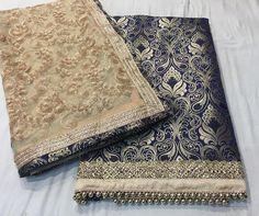 Gold work on tissue n banaras dupatta Indian Suits, Punjabi Suits, Indian Wear, Indian Style, Salwar Suits, Banarsi Suit, Pakistani Fancy Dresses, Boutique Suits, Lehenga Designs