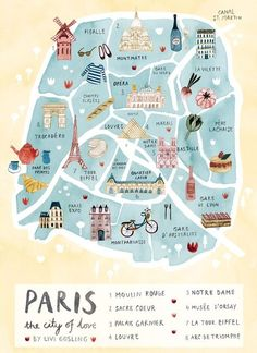 Paris Illustrated Map-France Art Print-City Map Poster Paris Illustrated Map - Paris Print - City Map Poster Romantic illustrated map print of Paris. With the Eiffel Tower, the Louvre, Moulin Rouge, S Paris Map, Paris City, Paris France Travel, Paris Poster, London Map, London Food, Map France, France Art, European Travel
