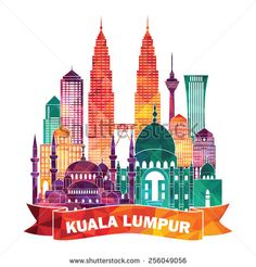 Kuala Lumpur detailed silhouette. Vector illustration - stock vector