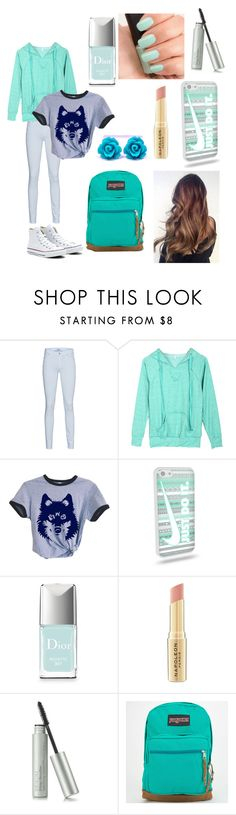 """Teal -rific for school"" by swagger652 ❤ liked on Polyvore featuring 7 For All Mankind, Converse, NARS Cosmetics, Christian Dior, Napoleon Perdis and JanSport"
