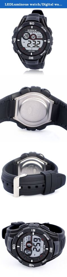 LEDLuminous watch/Digital watches boys/Sport Boys waterproof multifunction electronic watch-D. Watches Mirror Material: plexiglass mirror Movement Type: Electronic Watch Type: Male Style: Sports strap Material: Resin Shape: Round display: digital water depth: 100m additional features: 24 hours indicates GMT when the two chronograph alarm countdown calendar week luminous display month display table debit formula: buckle bottom of the table type : Normal crown type: dial thickness: 16.7mm…
