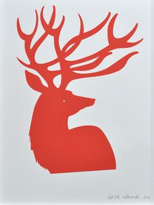A stately red deer print from Banquet Atelier & Workshop to add colour to any room. In the same red as our sold out red bear print. An open edition, 30 x 40 cm (11.81 x 15.75 inches), signed on the front and printed in a tangerine red on white, 250 gram Rising Stonehenge paper.
