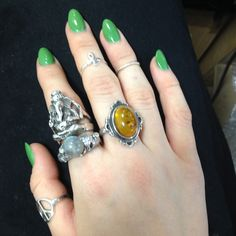 Green nails & rings #obsessed