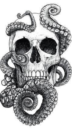 Skulls: #Skull with octopus tentacles.iwillxraymyskull