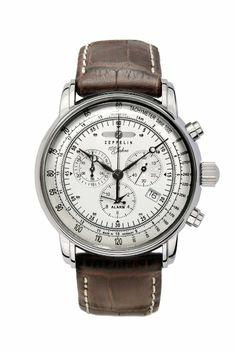 Zeppelin Herrenarmbanduhr Special Edition 100 Jahre Zeppelin Chronograph Alarm 12-Stunden-Stoppfunktion Quarz Silver 7680-1: Amazon.de: Uhren