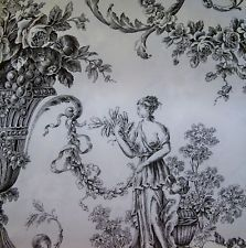 SHABBY ROMANTIC FRAGONARD TOILE FABRIC 10 YARDS WHITE