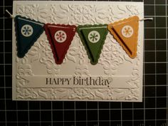 Banner Birthday Card (Stampin' Up)  This would also be cute if one stamped letters on the banner spelling the name of the recipient..... if the name was a short one!