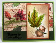 Stamps: House-Mouse Designs® Fall Float by Stampendous Soaring Sentiments by Stampendous Paper: Patterned Paper (has been in my stash forever) Recollections cardstock Mohawk Bright White Ink: Memento tuxedo Black Dye ink Tim Holts Vintage Photo Distress Ink Copic Markers Other: American Crafts Twine sponge