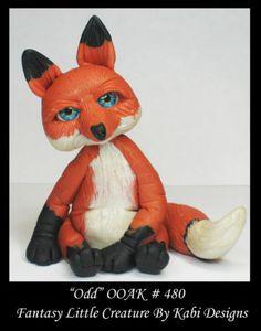 Fantasy Little Fox Miniature DollHouse Art Doll Polymer Clay CDHM OOAK IADR odd
