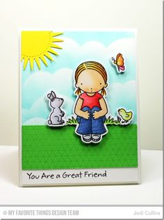 Spring Friends, Spring Friends Die-namics, Geometric Grid Background, Radiant Sun Die-namics, stitched Could Edges Die-namics - Jodi Collins  #mftstamps