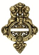 French Empire Cherub Door Knocker in antique brass. Also comes in polished brass and oil rubbed bronze. $149.99