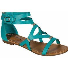Aqua cross over strap metal accent sandals ($9.99) ❤ liked on Polyvore featuring shoes, sandals, aqua, aqua sandals, strappy shoes, strap sandals, summer shoes and summer sandals