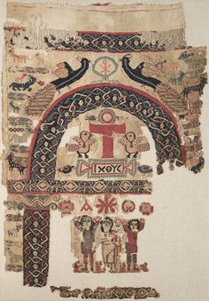 Hanging with Christian Images, Egypt, Byzantine period, 6th century, plain weave (tabby) with inwoven tapestry weave; dyed wool, undyed linen, Overall: 110.50 x 76.80 cm, Cleveland Museum of Art