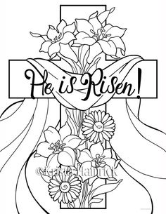 He is Risen! coloring pages Perfect for Sunday School age children, these coloring pages celebrate the resurrection of our Lord. In this images sunday school He is Risen! 2 Easter coloring pages for children Easter Coloring Sheets, Easter Colouring, Bible Coloring Pages, Coloring Pages For Kids, Coloring Books, Easter Coloring Pages Printable, Sunday School Coloring Pages, Easter Coloring Pictures, Egg Coloring