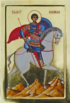 St. George (on a horse, tempera) - Aidan Hart Sacred Icons