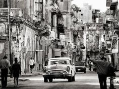 Busy Street Showing Dilapidated Buildings, Old American Cars and Local People, Havana, Cuba Landscapes Photographic Print - 61 x 46 cm
