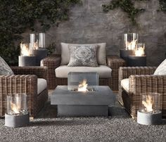 Restoration Hardware Furniture and Accessories: Laguna Concrete Propane Fire Table - 2011 Outdoor & Garden Collections