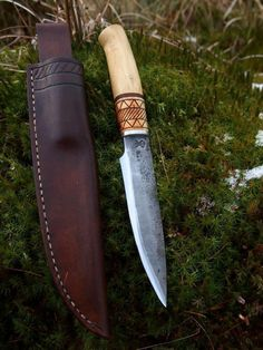 Just Custom Knives - Listings View Hand Forged Laminated Hunting Knife Sheath Cool Knives, Knives And Tools, Knives And Swords, Hand Forged Knife, Bushcraft Knives, Knife Sheath, Handmade Knives, Custom Knives, Survival Knife