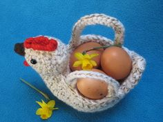 Crochet  PATTERN  Chicken Egg Basket Bowl PDF by Millionbells, $5.50