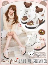 Cute Harajuku Womens Bears Lace-up Sport Shoes AMO Bees Kawaii Lolita Sneakers