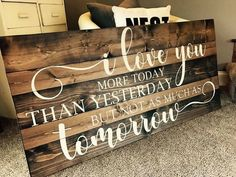 49 Creative Valentine Wall Decoration Ideas - This year for Valentines Day, instead of spending time together alone, celebrate love with a party and use these simple and romantic Valentines Day . Diy Wood Signs, Pallet Signs, Rustic Signs, Wooden Crafts, Wooden Diy, Love Wooden Sign, Wooden Signs With Sayings, Diy Crafts, Home Decor Signs