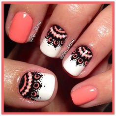coral black & white patterned #lace #nails DIY NAIL ART DESIGNS