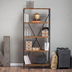Townsend Tall Bookcase - The Belham Living Townsend Tall Bookcase offers a contemporary take on rustic traditions. The metal frame and legs are finished in a rustic bronze,...