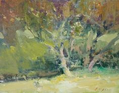 "Garden Plum Trees by Simon Addyman Oil ~ 12"" x 16"""