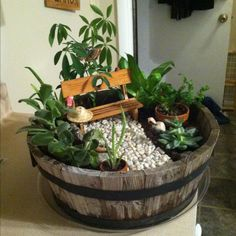 A fairy garden in a barrel!  We love this because you can get some great barrels this season from Old Time Pottery!  http://www.oldtimepottery.com/