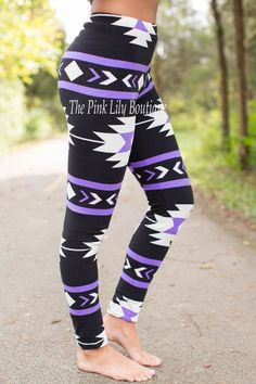 The Pink Lily Boutique - Black and Purple Aztec Leggings , $18.00 (http://thepinklilyboutique.com/black-and-purple-aztec-leggings/)
