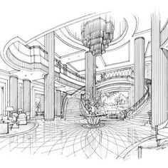 When it comes to getting a hotel ready to greet its guests, a lobby design is a tell-all. The entrance to a brand new world of luxury, these luxurious hotel lob Interior Architecture Drawing, Interior Design Renderings, Interior Design Classes, Interior Sketch, Architecture Design, Classical Architecture, Hotel Lobby Design, Lobby Interior, Luxury Interior