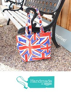 Red White and Blue Union Jack Oilcloth Book Bag Tote with Name Tag from Yummy Art and Craft https://www.amazon.co.uk/dp/B0718TK2ZW/ref=hnd_sw_r_pi_dp_2H0izbKBBJF16 #handmadeatamazon