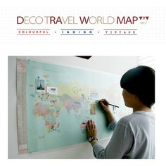 Deco Travel World Map Ver. 2- you draw on it!