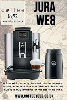 Jura an afforadable bean to cup coffee machine. Espresso based coffees made with fresh milk. The drinks quality from this compact machine is amazing. Jura Coffee Machine, Espresso Coffee Machine, Espresso Maker, Coffee Maker, Coffee Type, Great Coffee, Drip Coffee, Coffee Vending Machines, Coffee Machines