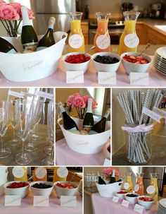 I love the idea but of a Bubbly Bar. Especially if you want to do a brunch Bubbly Bar, Champagne Bar, Mimosa Bar, Birthday Brunch, Brunch Party, 24 Birthday, Shower Party, Baby Shower, Gold Bridal Showers