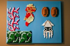 Super Mario Brothers 22 Perler Beads on Canvas by NestalgicBits, $100.00