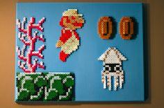 Super Mario Brothers 22 Perler Beads on Canvas door NestalgicBits, $100.00