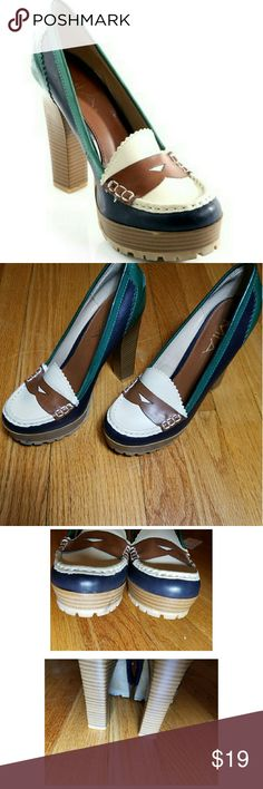 """Mia loafer pumps Excellent condition, only worn once. The only signs of wear are from being stored with another pair of shoes, those marks are to the bottom sole.    Colors are green/teal, cream & brown, man made materiel & have a rubber sole for traction.   Heel measures 4 1/2"""" MIA Shoes Heels"""