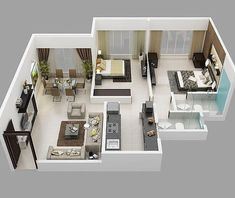 House plans with 2 Bedrooms – Sam House Plans Small Modern House Plans, Best Modern House Design, Sims House Plans, House Layout Plans, Small House Design, House Floor Plans, Modern Design, House Floor Design, Sims House Design