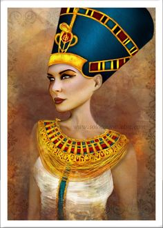 "5x7 Premium Art Print ""Nefertiti"" Small Size Giclee Print of Original Artwork of Ancient Egyptian Queen Nefertit 'Most Beautiful Woman'. $10.00, via Etsy."