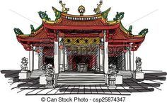 Vector - chinese temple vector - stock illustration, royalty free illustrations, stock clip art icon, stock clipart icons, logo, line art, EPS picture, pictures, graphic, graphics, drawing, drawings, vector image, artwork, EPS vector art