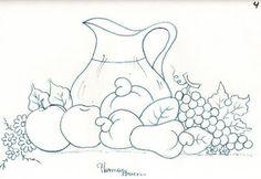desenho de jarra de suco com cajus, maças e uvas para pintar