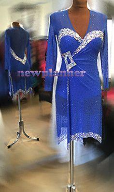 Women Ballroom Latin Rhythm Samba Salsa Dance Dress US 12 UK 14 Blue Sliver