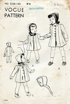 1940s Child's Coat and Bonnet Pattern Vogue 2336 by BessieAndMaive