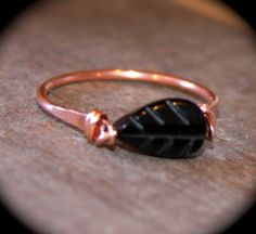 Black Onyx Copper Ring or Solid Sterling Silver, Handmade Ring, Wire Wrapped Gemstone Ring, Leaf Ring, Toe Ring, Midi Ring, Woodland Ring by BirchBarkDesign on Etsy