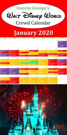 Our Disney World Crowd Calendar shows the best days to visit each Park during your vacation - Magic Kingdom, Epcot, Hollywood Studios, and Animal Kingdom. Disney World Resorts, Disney Parks, Walt Disney World, Disney Crowds, Disney World Crowd Calendar, Hollywood Studios, Epcot, Magic Kingdom, January